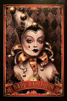 Dark Harlequin, from the Divine Circus Oracle Card deck, by Alana Fairchild Circus Poster, Circus Art, Circus Theme, Clowns, Nocturne, Circus Aesthetic, Pierrot Clown, Circo Vintage, Dark Circus