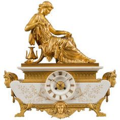 1850 French Ormolu Bronze and White Marble Orientalist Mantle Clock at 1stdibs