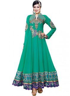 Green Georgette and Shantoon Anarkali Churidaar #Eidfashion
