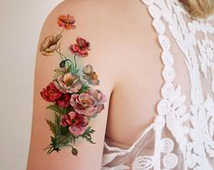 vintage poppies floral temporary tattoo by pepperink on Etsy