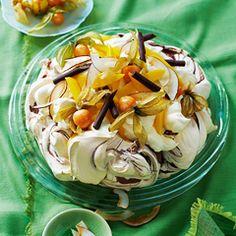 Chocolate swirl pavlova with mango and physalis - Sainsbury's Magazine
