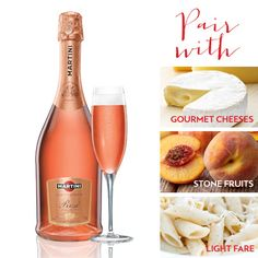 Perfect Sparkling Rosé Pairs: Gourmet cheeses, stone fruits, light fare or even spicy cuisine.