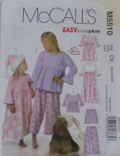 McCall's M5510 Sew Pattern Children's Top/Gown 2 Lengths/Hat Sz CX (Xsm-Sml)