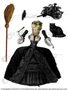 2 Sheets Wicked Marie Antoinette Witch Paper Doll Puppet Vintage French Halloween Clipart Digital Collage Sheet Download Party. $4.50, via Etsy.