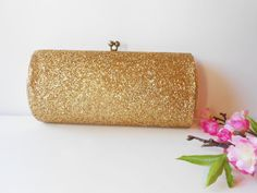 Gold Beaded Evening Bag Sequin Clutch Purse by LittleBitsofGlamour, $35.00