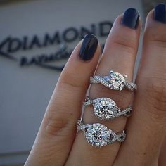 Brilliant Diamond Facts, History & All You Need to Know a trio of Gabriel engagement rings with twisted bands Engagement Ring Buying Guide, Dream Engagement Rings, Solitaire Engagement, Solitaire Rings, Diamond Rings, Engagement Bands, Gabriel, Wedding Rings Simple, Ring Verlobung