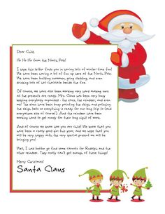 Letter From Santa Template. 29 Letter From Santa Template. Free Santa Letter Template, Free Printable Santa Letters, Free Letters From Santa, Personalized Letters From Santa, Christmas Letter From Santa, Christmas Eve Box, Winter Christmas, Christmas Crafts, Christmas Ideas