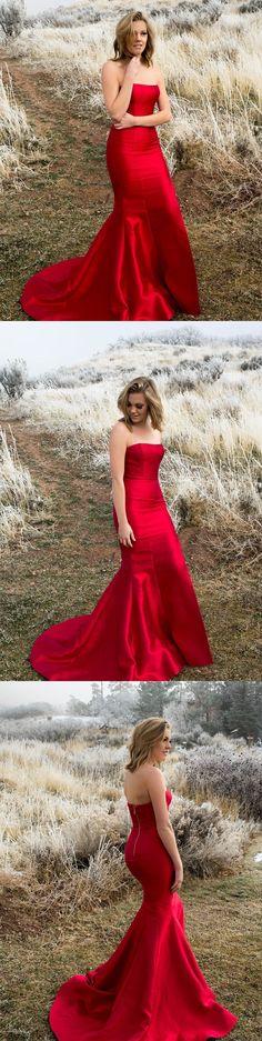 elegant strapless mermaid red long prom dress with train, formal evening dress party dress wedding party dress #redweddingdresses