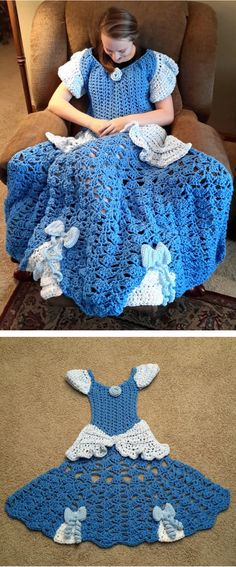 These adorable crochet blanket patterns are shaped like princess ball gowns.