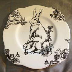 "Barnyard Toile Plate 10"" Bunny Rabbit Hare Lunch Ceramic E Trostli Sadek"