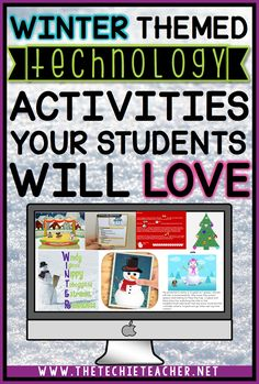 Winter Themed Technology Activities Your Class Will Love- Winter themed technology activities your students will love: Ideas for Laptops, Chromebooks and iPads Computer Lessons, Technology Lessons, Computer Class, Technology Design, Computer Technology, Latest Technology, Technology Logo, Technology Gadgets, Library Lessons