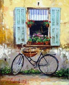 Oil painting of a village window with flowers and bicycle. High quality oil painting to decorate your home and office. Bicycle Painting, Bicycle Art, Oil Painting On Canvas, Painting & Drawing, Canvas Art, Large Canvas, Illustration Photo, Illustrations, Art Expo