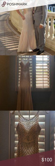 Prom dress Beautiful Champagne colored prom dress! Strappy back! Looks brand new! David's Bridal Dresses Prom