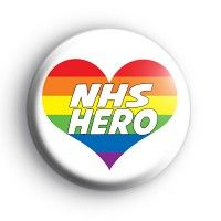 NHS Hero Rainbow Heart Badge Stone Painting, Rock Painting, Project R, Badge Creator, National Health Service, Custom Badges, Badge Design, Rainbow Heart, How To Make Buttons