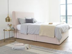 Ruffle headboard in Faded Pink brushed cotton, headboard, tall headboard, bed, beds, bedding, bedroom, bed and headboard, pink, dusky pink, blush pink, chalky pink, fabric, upholster, upholstery, upholstered, bedroom update, large bed, double bed, storage bed, storage ideas, storage