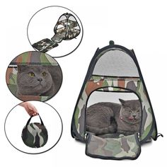 Camouflage Cat Bed Breathable Cat Tent Pet Bed For Small and Medium Size Animals Very Cute For Travel Collapsible Easy Storage Camouflage, Diy Cat Tent, Foldable Bed, Cat Basket, Pet Bag, Puppy Beds, Buy Pets, Pet Carriers, Kitty Cats