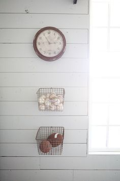 The Farmhouse - Magnolia Homes boys room, baskets for balls. in garage???
