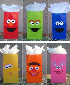 Sesame Street Party Favor Bags  Set of 8 by lilcraftcorner on Etsy, $16.00