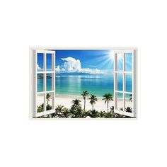 Window Wall Art sunshine beach 3d window view removable wall art stickers vinyl
