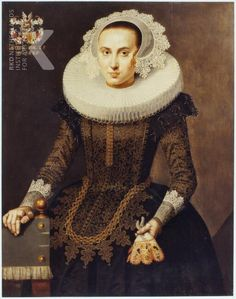 Artist Unknown. Portrait of Clara van Hulten (1600-1671) dated 1625. Stunning.
