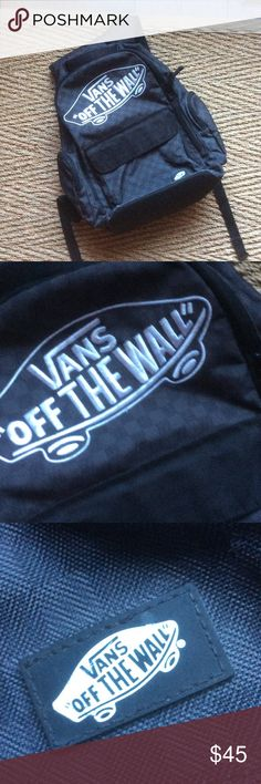 Authentic VANS OFF THE WALL CHECKERED BACKPACK Authentic VANS OFF THE WALL CHECKERED BACKPACK this is still awesome even though used no holes or stains. Logo is embroidered on front. Zip pockets on each side. Two main compartments w organizers inside. Padded adjustable comfy straps. Vans Bags Backpacks