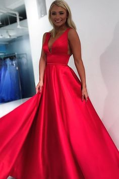 Empire Red Long Ball Gown Prom Dress Graduation Dress The Dress Bridal Shrug For Dresses, Deb Dresses, Pageant Dresses, The Dress, Homecoming Dresses, Graduation Dresses, Formal Dresses, Dress Prom, Satin Dresses