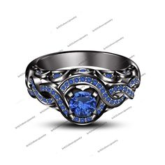 Size 5-12 Black Wedding Ring 1Pcs Engagement Blue Sapphire In Black Gold Filled #br925silverczjewelry #SolitairewithAccentsEngagementRing