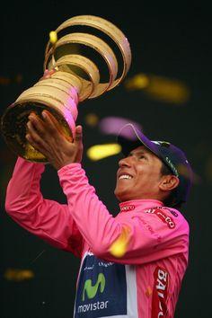 Nairo Quintana of Colombia and the Movistar Team celebrates winning the 2014…