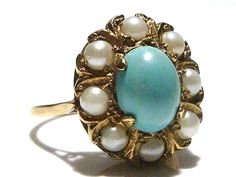 LARGE OLD ENGLISH VINTAGE 9K 375 GOLD PERSIAN TURQUOISE PEARL ESTATE RING in Jewelry & Watches, Vintage & Antique Jewelry, Fine   eBay