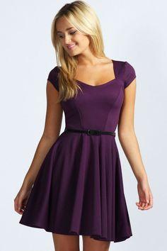 Lara Sweetheart Neck Skater Dress at boohoo.com