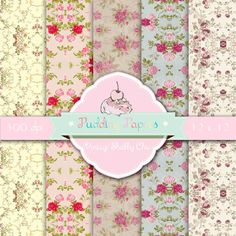 Vintage Shabby Chic - Digital Collage Sheet - Instant Download - Shabby Chic Paper - Decoupage Paper - Scrapbook Paper - Floral Paper
