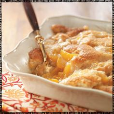 Easy Peach Cobbler    I just made this & it is amazing. Use less sugar if your peaches are sweet!