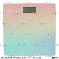 Adorable Gradient Glitter, Peach, Yellow, Green Bathroom Scale Bath Scale, Peach, Glitter, Bathroom, Yellow, Green, Decor, Washroom, Decoration