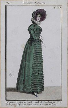 Redingote de gros de naples 1819 costume parisien