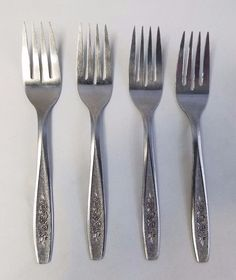 Oneida Simeon L George H Rogers Spring Ballad 4 Dessert Fork Stainless Flatware #Oneida # & Oneida Discontinued Stainless Flatware Patterns   We carry over 600 ...