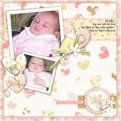 SCS Scrapbook Page Sample, Baby Girl, 12x12