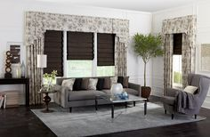 Tapered Box Pleat Valance over Gathered Draperies and Hobbled Roman Shades with Custom Accent Pillows