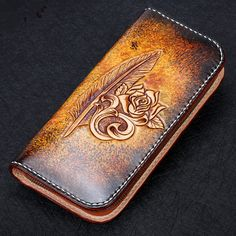 2017 Genuine Leather Wallets Carving Feather Rose Bag Purses Women Long Clutch Vegetable Tanned Leather Wallet Mothers Day gift
