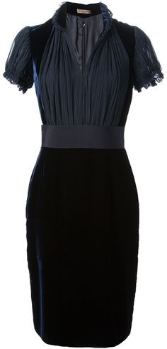 $2,193, Alexander McQueen Velvet Dress. Sold by farfetch.com. Click for more info: https://lookastic.com/women/shop_items/45657/redirect
