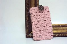 Pink Crocheted Cell Phone Cover with Ceramic by etty2504 on Etsy, $11.00
