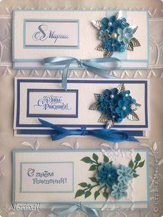 Открытка 8 марта День рождения Квиллинг Конвертики сереневенькие и синенькие Бумага Бумажные полосы Бусины фото 5