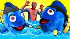 Finding DORY Twins! MINION SPIDERMAN - Finding Dory & Minion Spiderman i...
