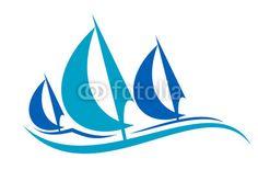 Wektor: Stylized blue sailing boats upon the waves
