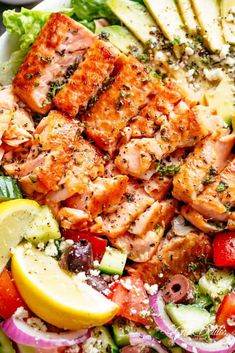 Avocado Salmon Salad with an incredible lemon herb Mediterranean dressing! Loaded with cucumber, olives, tomatoes and feta cheese! Salmon Recipes, Seafood Recipes, Dinner Recipes, Cooking Recipes, Healthy Recipes, Dinner Ideas, Keto Recipes, Cooking Ideas, Fish Recipes