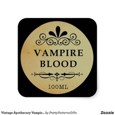Vintage Apothecary Vampire Blood Halloween Sticker SOLD on Zazzle