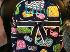 Whale Print Monogrammed School Backpack Navy Blue Trim