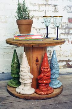 A spray painted gnome for the garden. I like it.