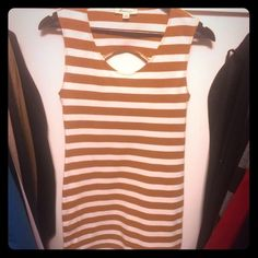 Forever 21 mini dress Rusty brown & cream striped extra fitted mini dress. Circle cut out on back. Cotton, spandex. Excellent condition like new Forever 21 Dresses Mini