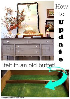 How to Replace Old Felt in a Silverware Drawer - You found the perfect antique buffet with antique dirty felt! See how to fix that!