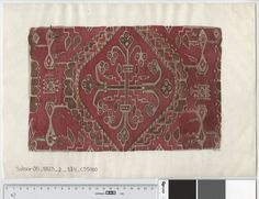 Oseberg Findings from folder 'Oseberg, textile - textile fragment No. reconstruction of textile fragment 5 (?) Watercolor of (Mary Storm) Dimensions: W 37 cm, H: 25 cm. Viking Ship, Viking Art, Vikings, Viking Embroidery, Viking Culture, Old Norse, Iron Age, Star Patterns, Fiber Art